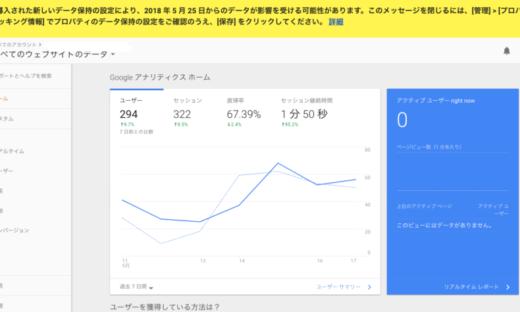 Google Analyticsのデータ保持期間にご注意ください。
